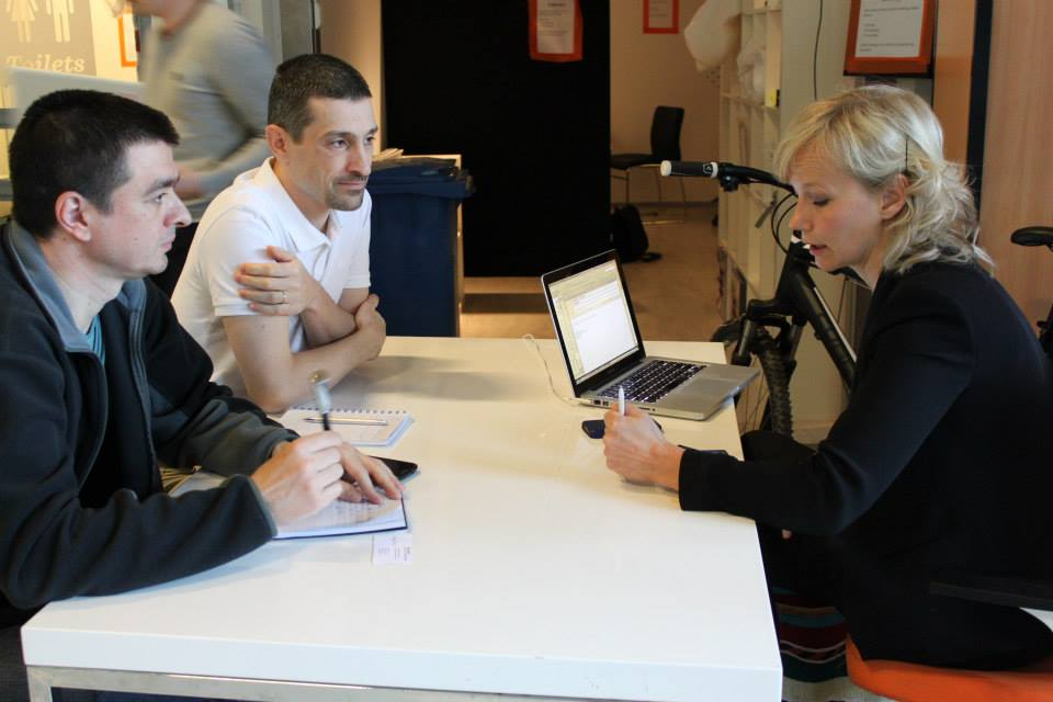 Marius and Sorin, together with Inka Mero, Startup Sauna Head Coach.