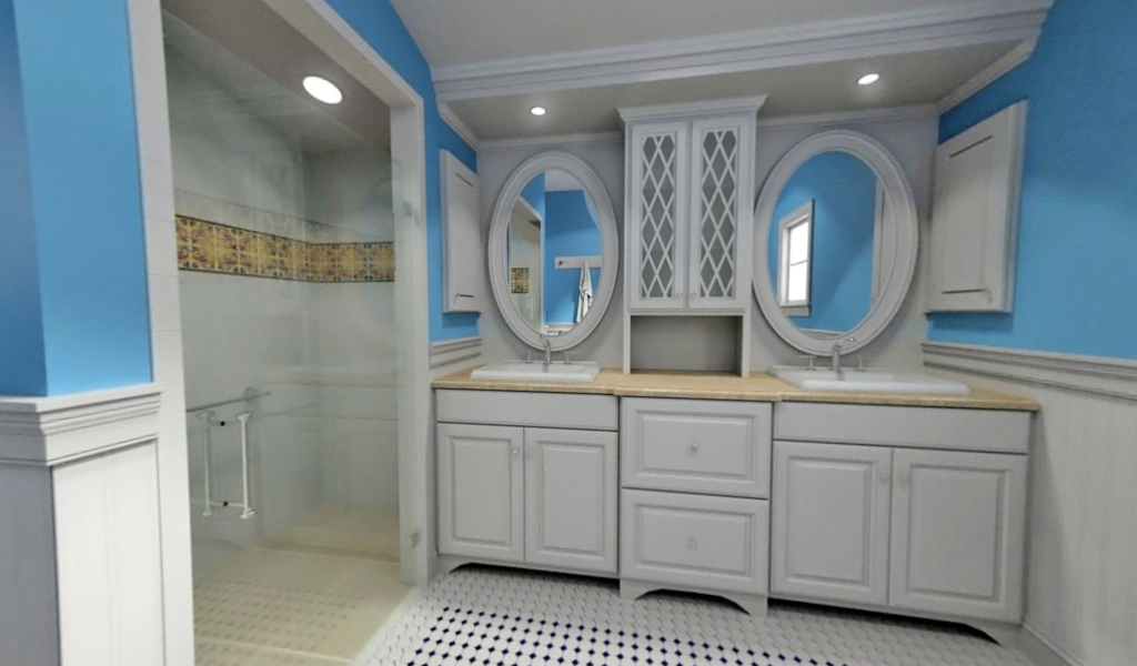 3D rendering by Jeff Miniger - Blue bathroom
