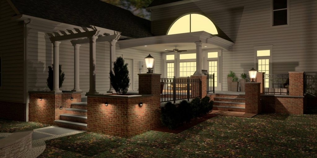 3D rendering night patio