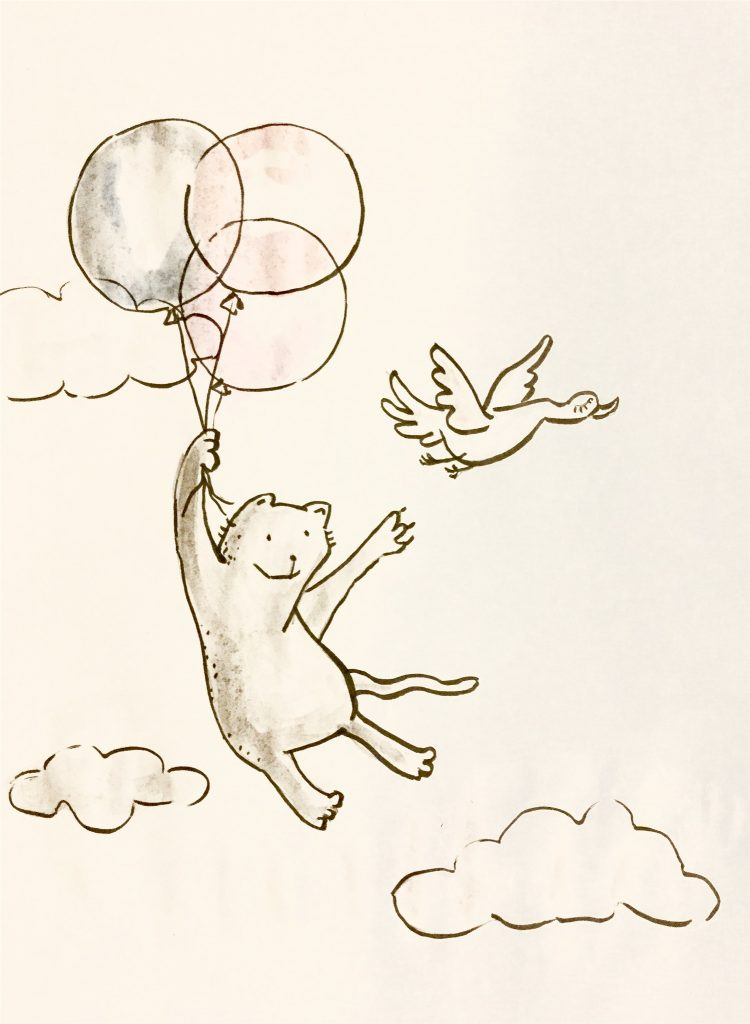 Illustratuion of a cat holding three baloons