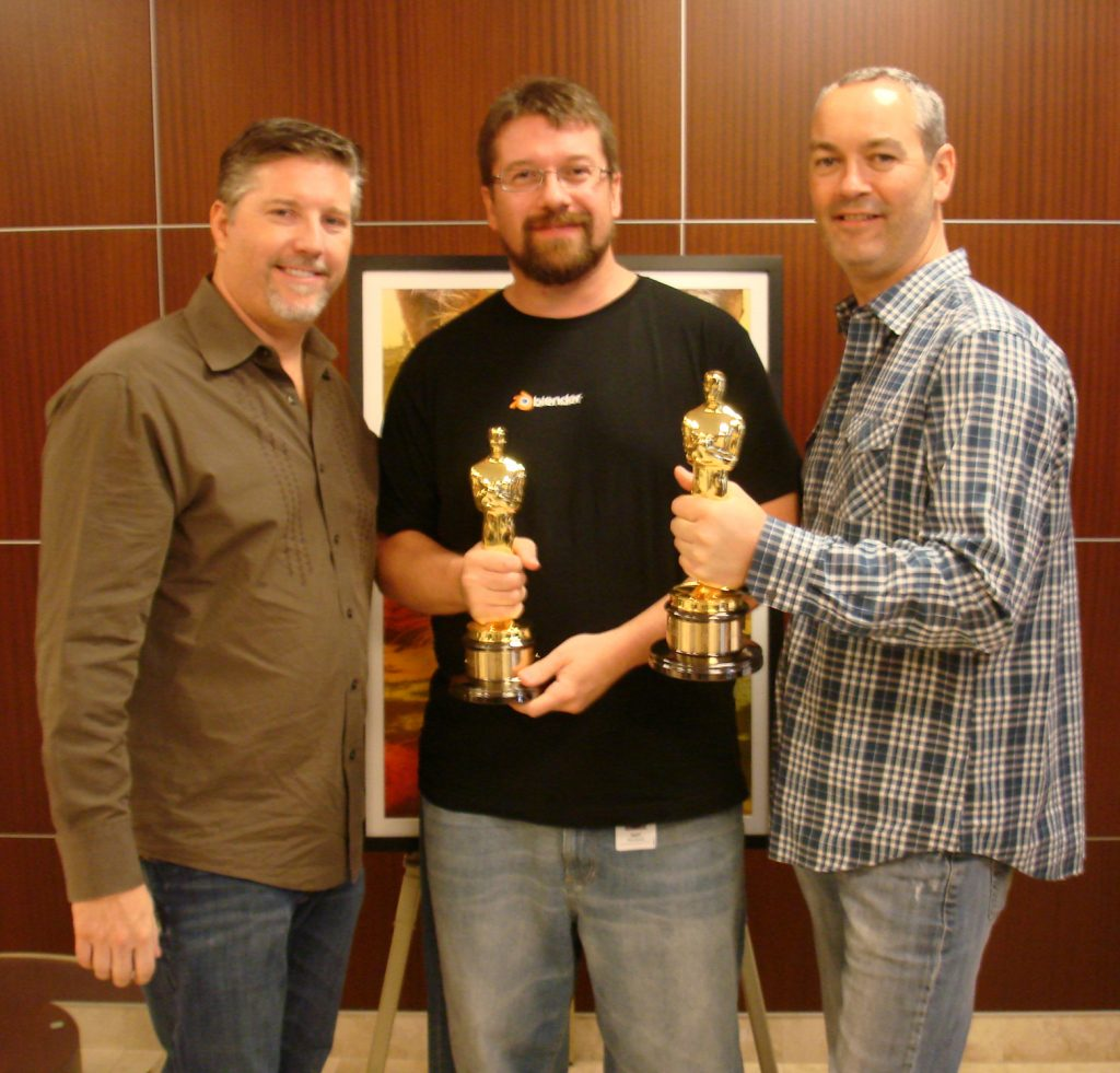 "Sean Kennedy with Bill Westenhofer, Erik-Jan De Boer, & the visual effects Oscar for ""Life of Pi"""