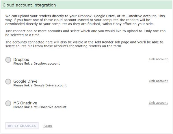 Cloud account integration linking